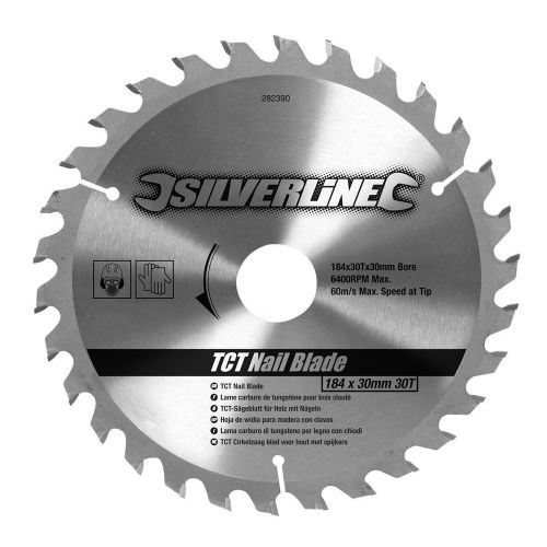 Silverline 282390 TCT Nail Circular Saw Blade 30 Teeth 184mm x 30mm